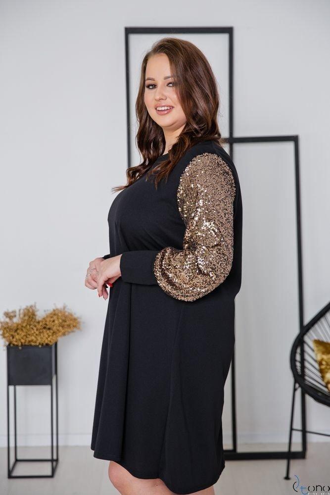 Black-Gold Dress CELESTA Plus Size