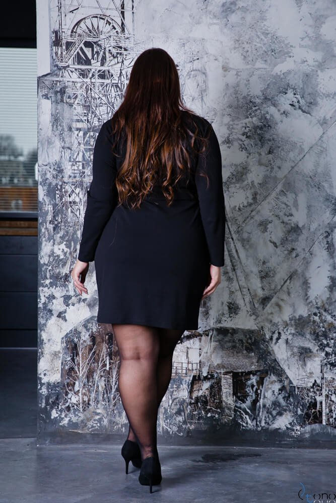 176b0090fe Czarna Sukienka Damska KIMBERLY Kopertowa Size Plus ✅ darmowy ...