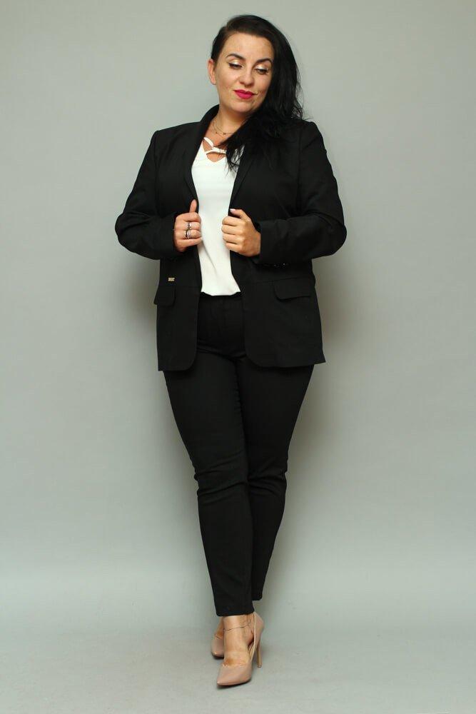 b24c8535 Czarny komplet Żakiet damski + spodnie VOLTENO Plus Size