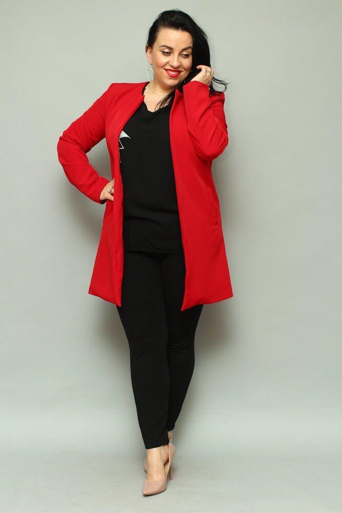 b7155aa32d Czerwona Płaszcz damski LUKKA Plus Size Kardigan ✅ darmowy odbiór w ...