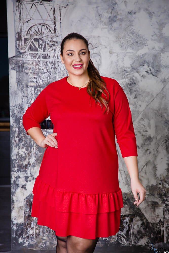 ae1f2f7b42 Czerwona Sukienka TUSYA Falbanka Plus Size ✅ darmowy odbiór w ...