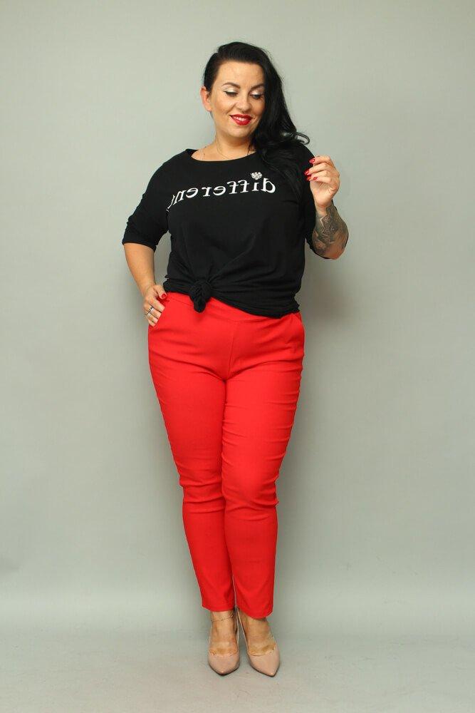 7a827f8e47 Czerwone Spodnie damskie AZURO Plus Size ✅ darmowy odbiór w punckie ...