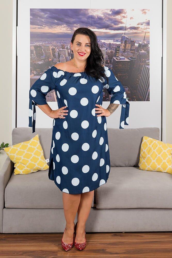 fda7efe5e7 Granatowa Sukienka VALENCIA Hiszpanka Plus Size Grochy ✅ darmowy ...