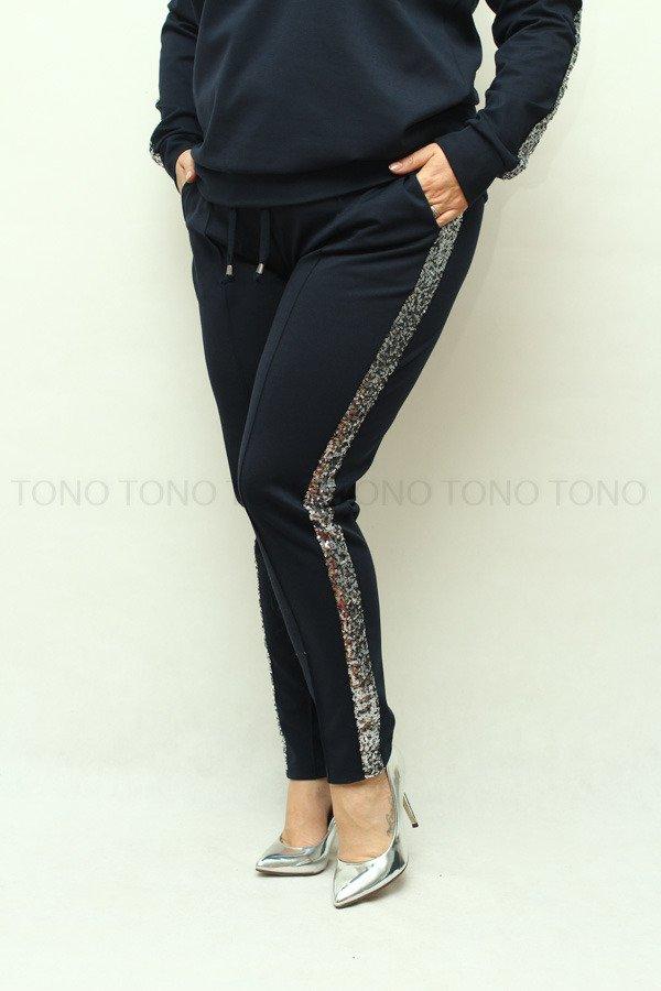 29225c0a Granatowe spodnie damskie dresowe NEVA2 z cekinowym lampasem plus size