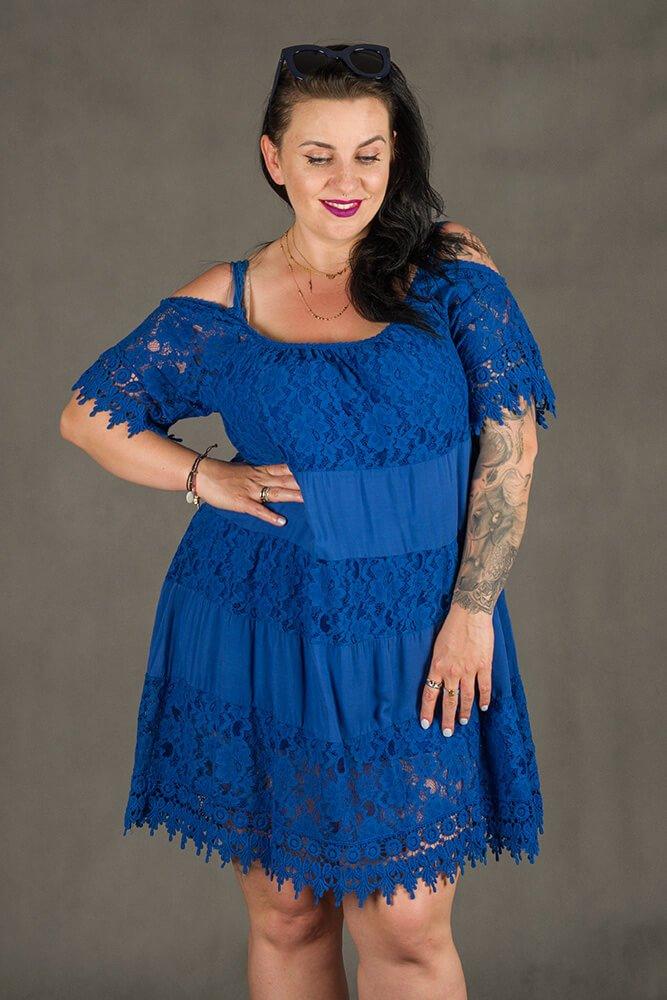 801981421f Niebieska Sukienka KLEO Koronka Plus Size ✅ darmowy odbiór w ...