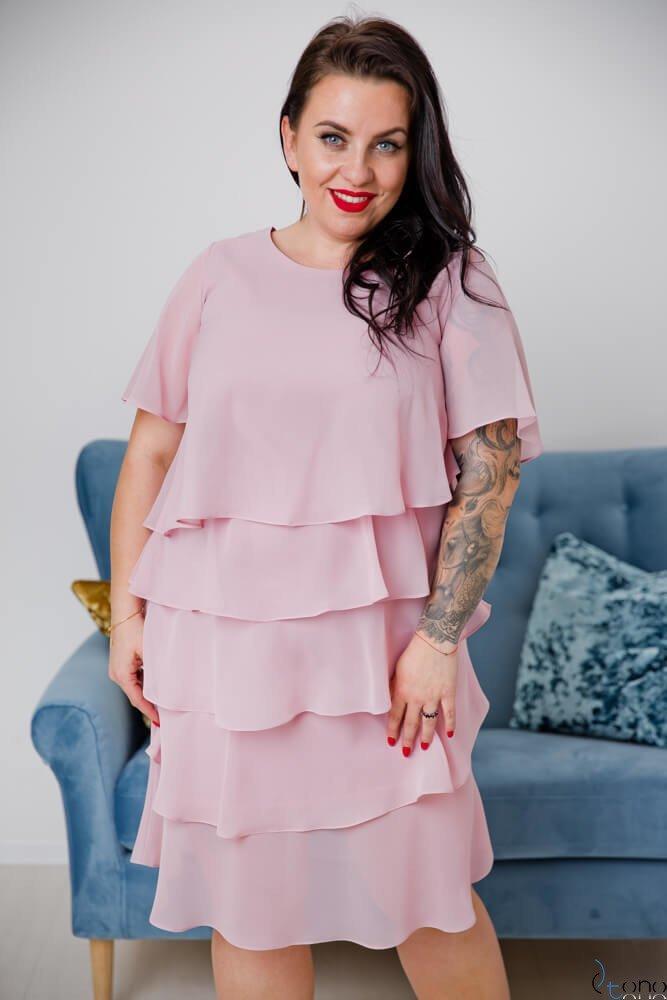 50c339fa67 Pudrowo różowa Sukienka ORINA Plus Size ✅ darmowy odbiór w punckie ...