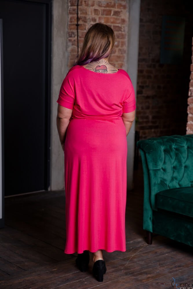 Amarantowa Sukienka MAKINA Plus Size Maxi