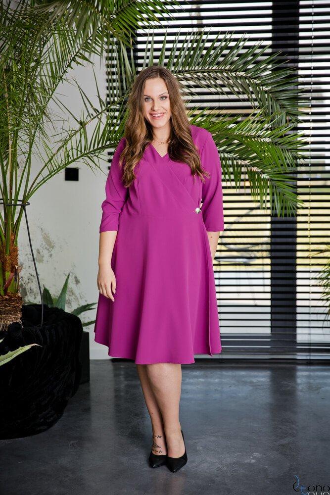 Amarantowa Sukienka MELANYA Plus Size