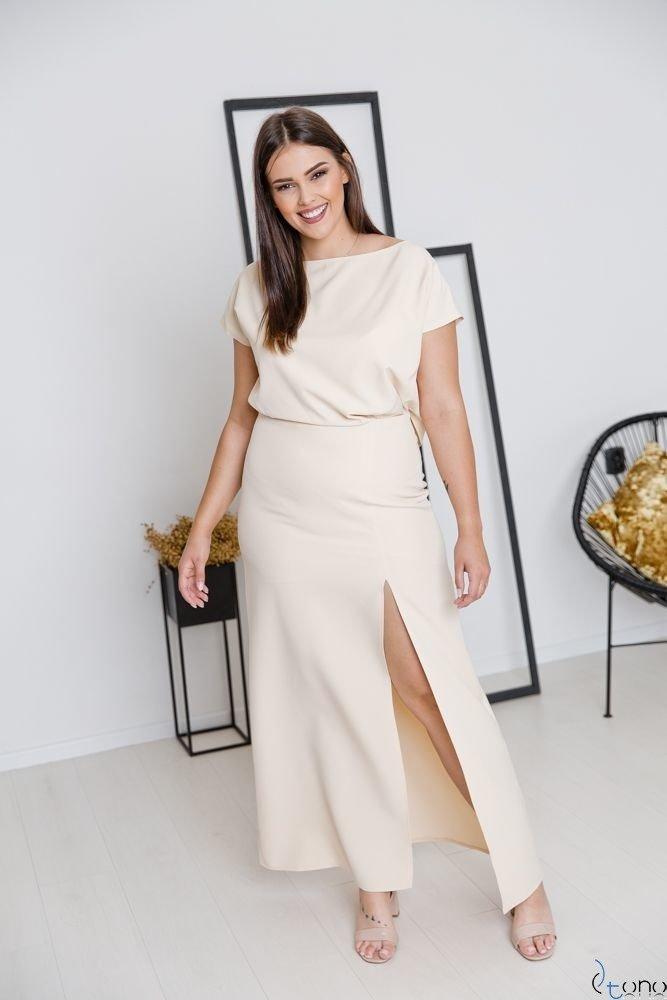 Beżowa Sukienka PRIMMA Wizytowa Plus Size