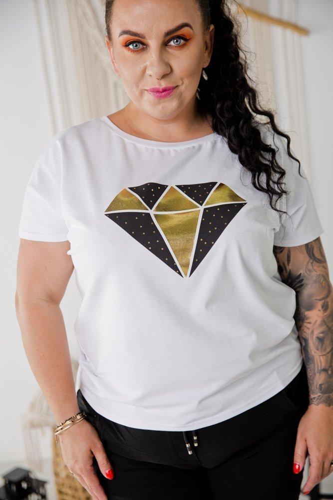 Biała Bluzka DIAMOND Plus Size