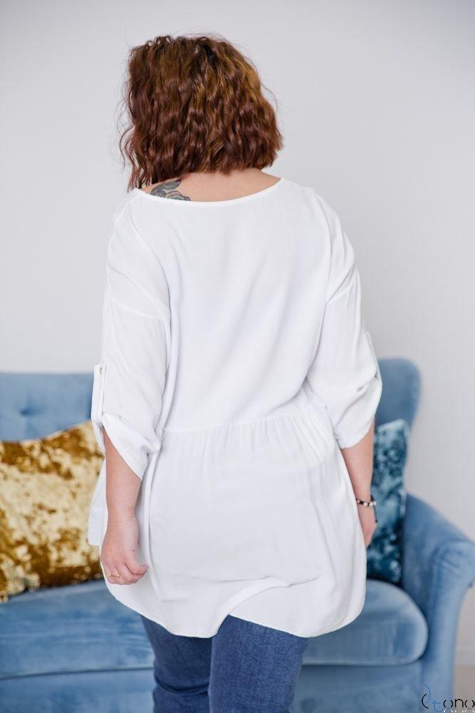 Biała Bluzka OLTERIS Plus Size