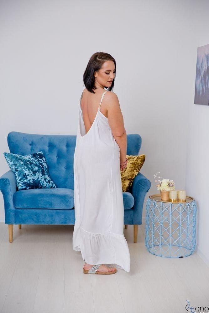 Biała Sukienka LAMIRA Plus Size Maxi