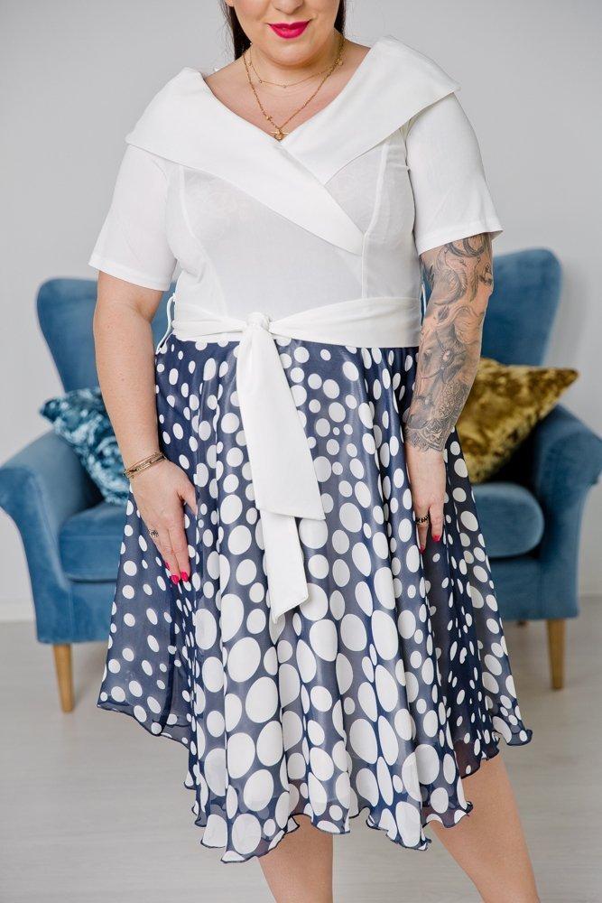 Biała Sukienka NASTIA Plus Size
