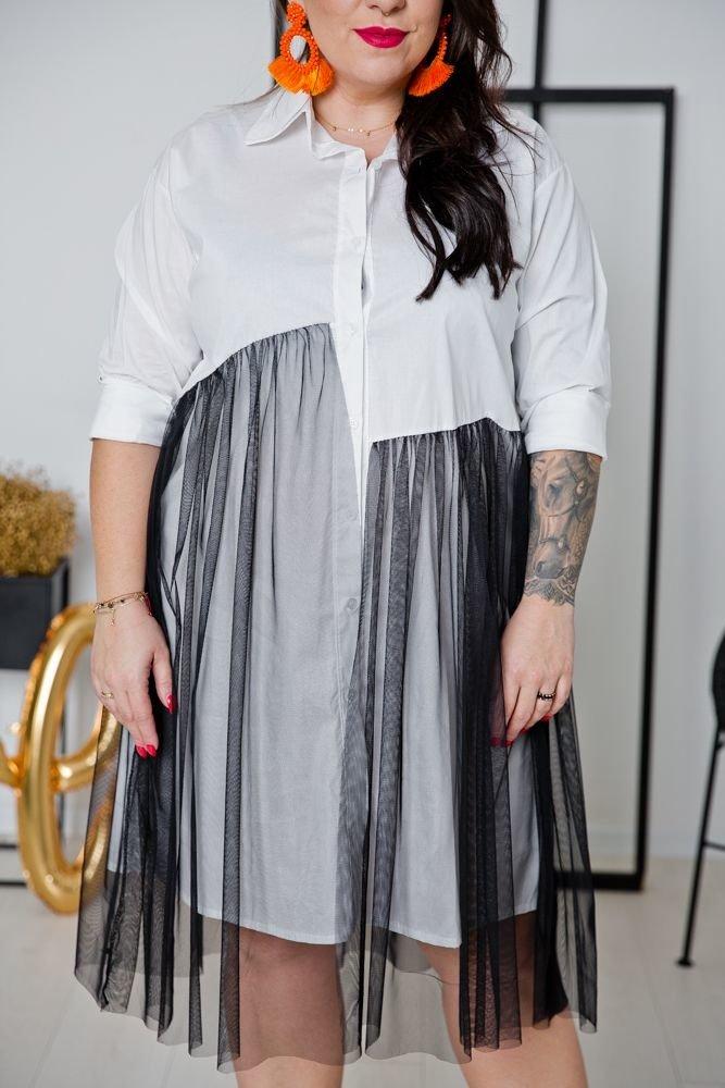 Biała Sukienka TENDA Plus Size