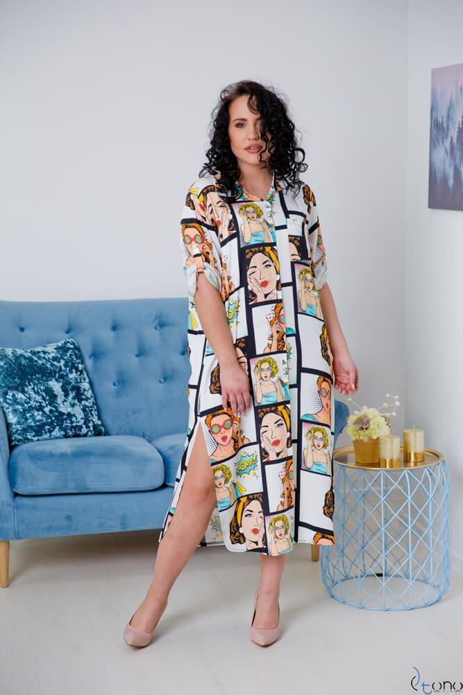 Biała Sukienka TUNES Plus Size