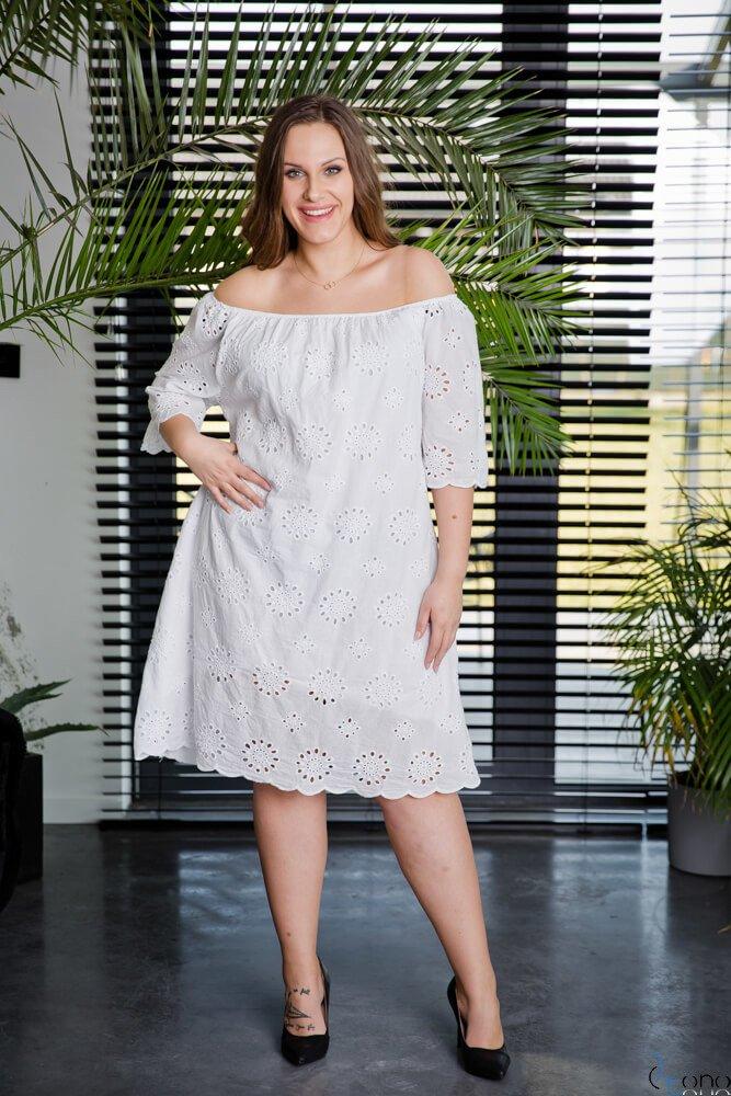 Biała Sukienka WITNEY Plus Size