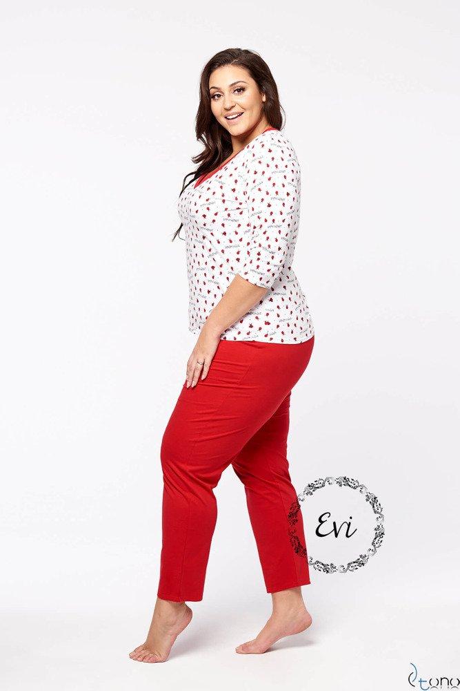 Biało-Czerwona Damska Piżama LADY Długi Rękaw Plus Size