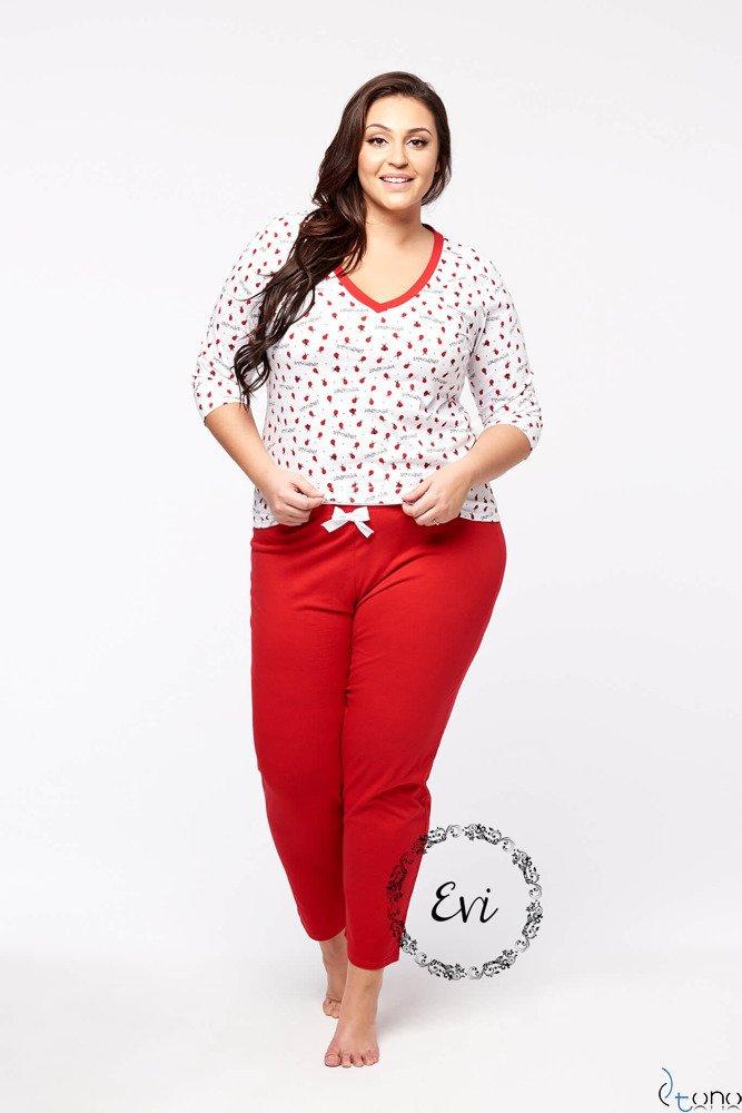 Biało-Czerwona Damska Piżama LADY Plus Size