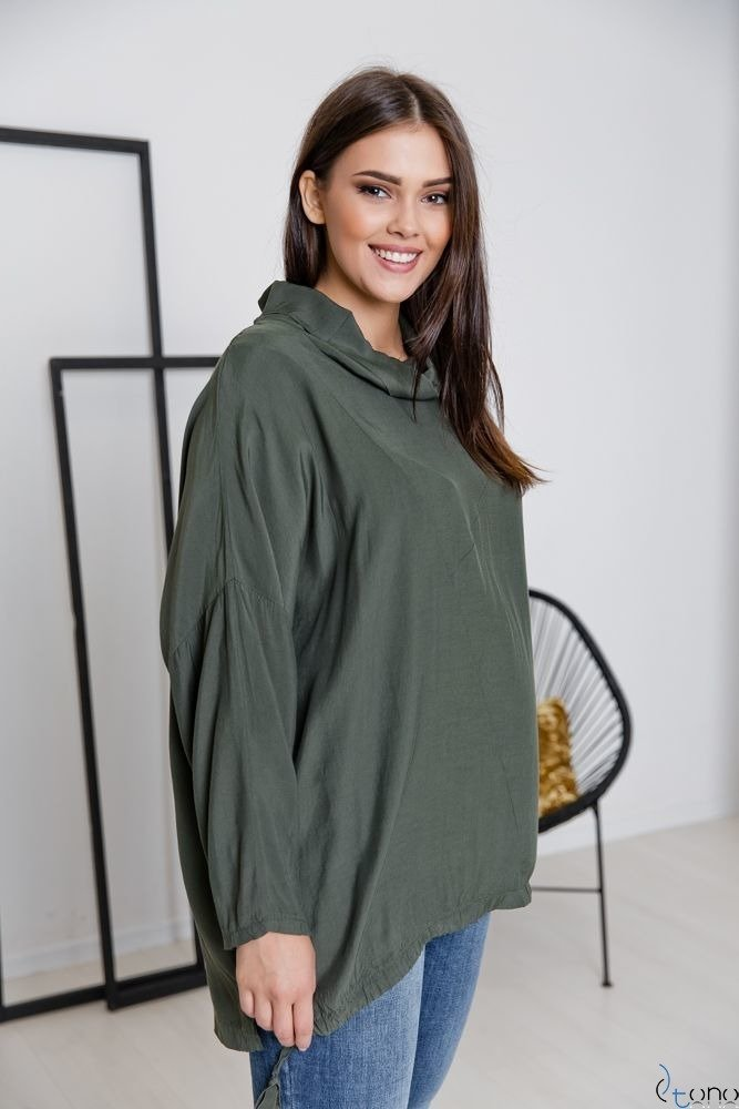 Bluzka Khaki COLLO Plus Size
