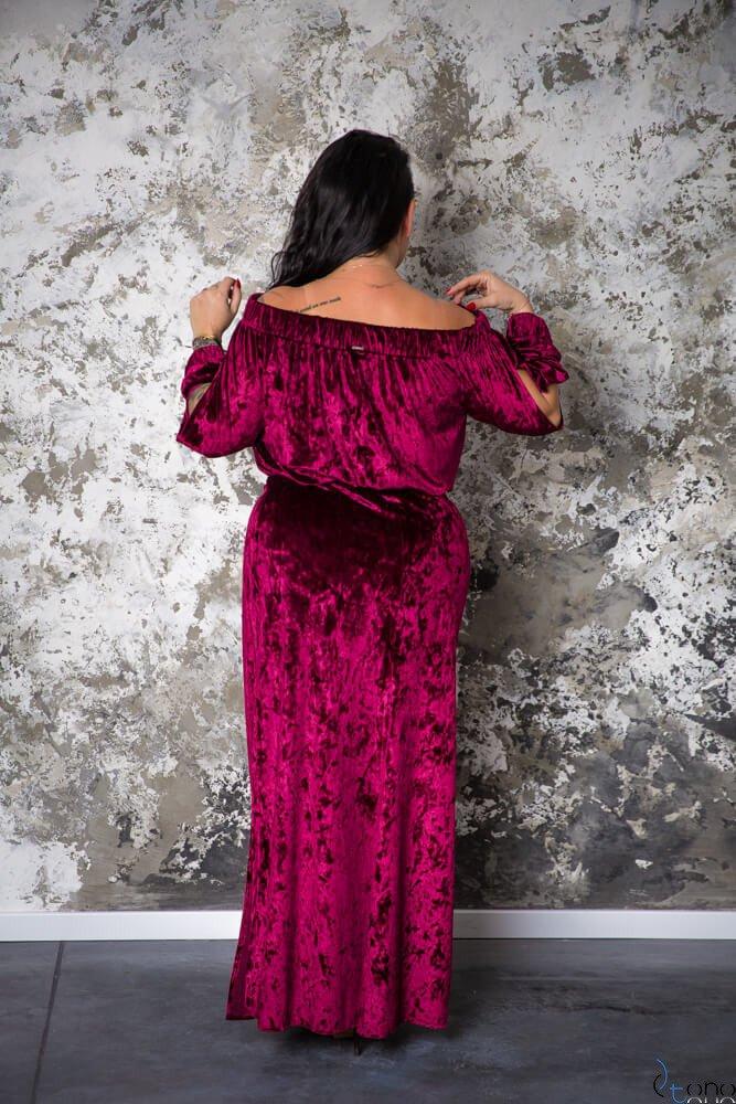 Bordowa Sukienka PIENA Plus Size Maxi