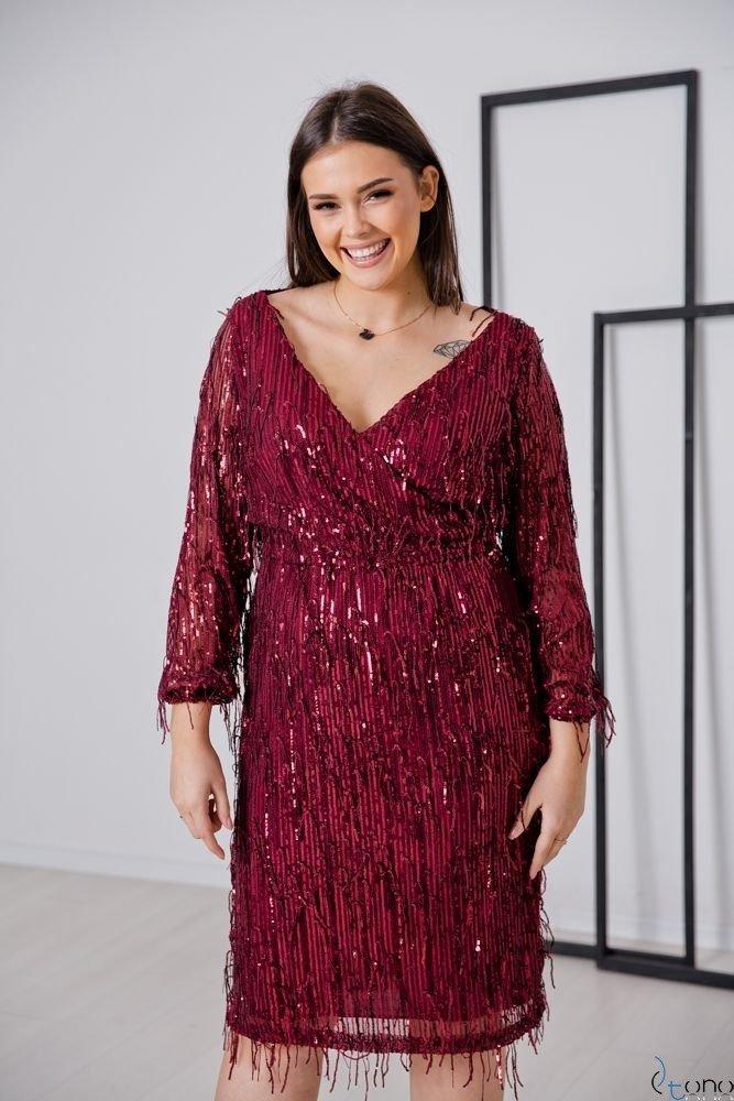 Bordowa Sukienka VELOSA Plus Size