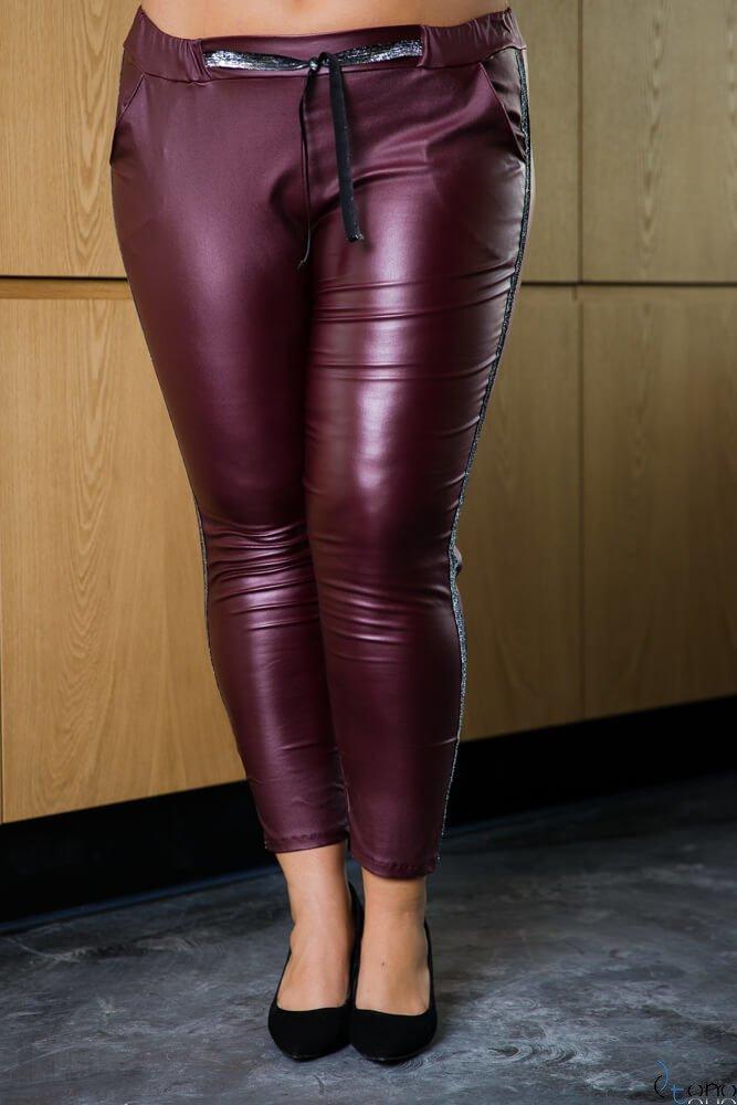 Bordowe Spodnie COSSY Eko Skóra Plus Size