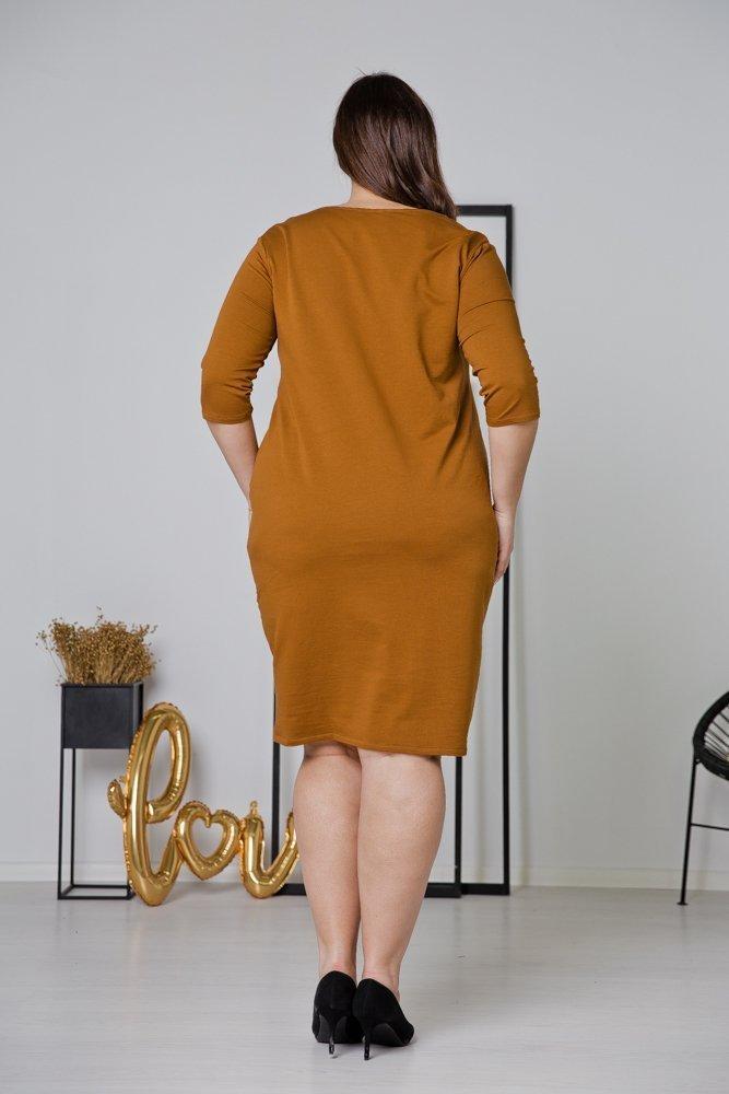 Brązowa Sukienka MISTRA Plus Size