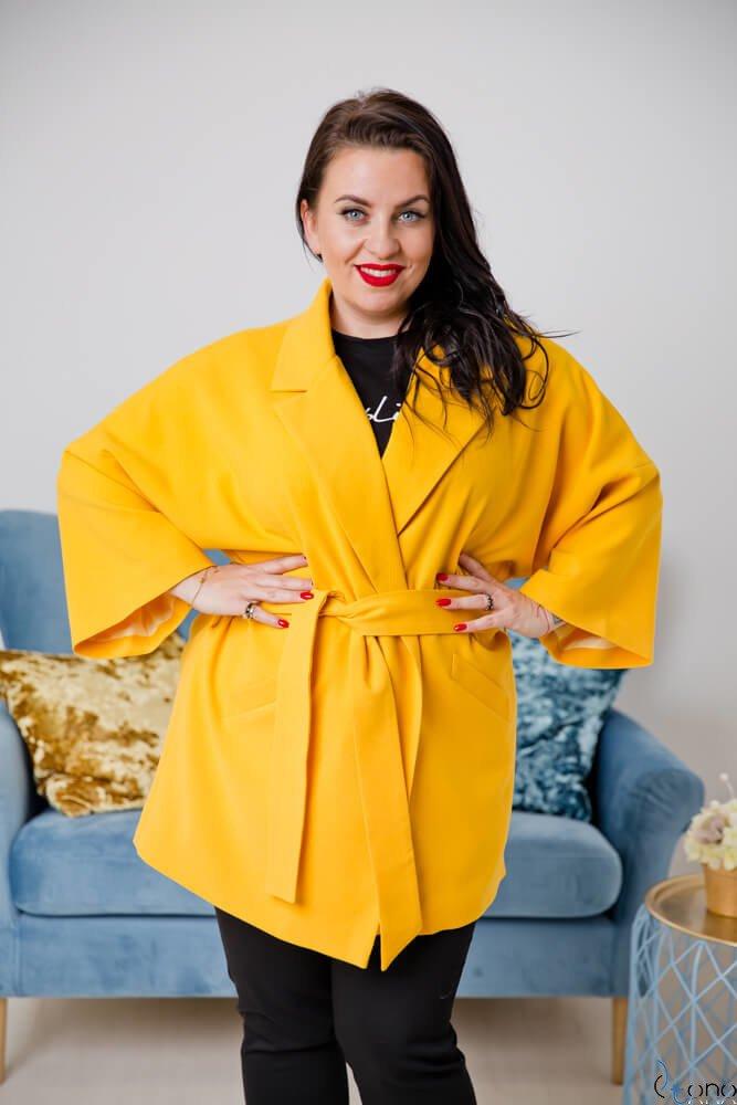 Żółty Płaszcz JAYMY Plus Size