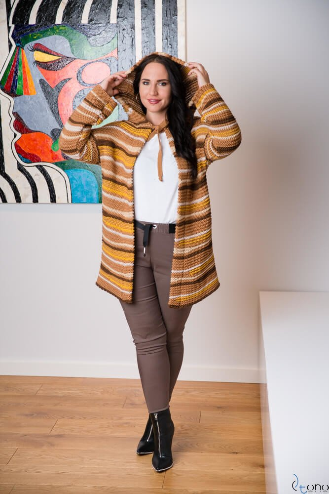 Camelowy Sweter NORGE Plus Size
