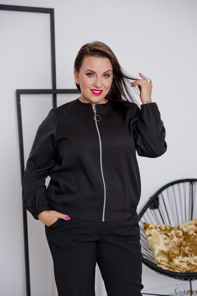 Czarna Bluza ENCARA Plus Size Bomberka Wzór 2