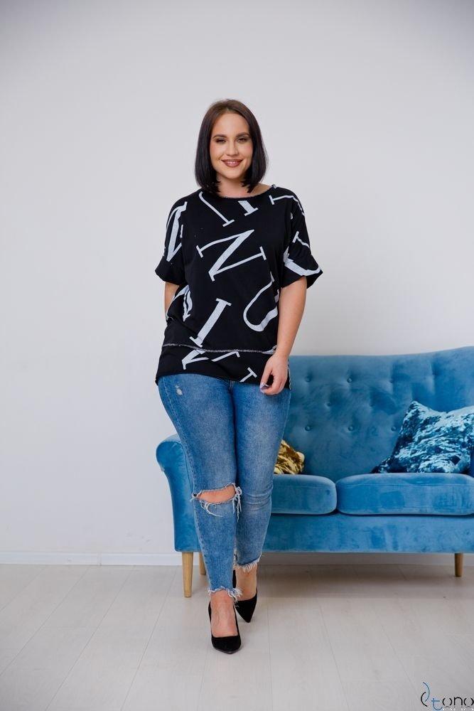 Czarna Bluzka VICTIVA Plus Size