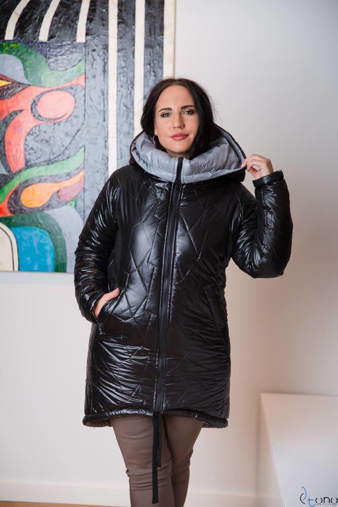 Czarna Kurtka FREMI Zimowa Plus Size