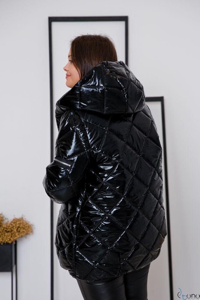 Czarna Kurtka PIUMUNI Plus Size Wzór 2