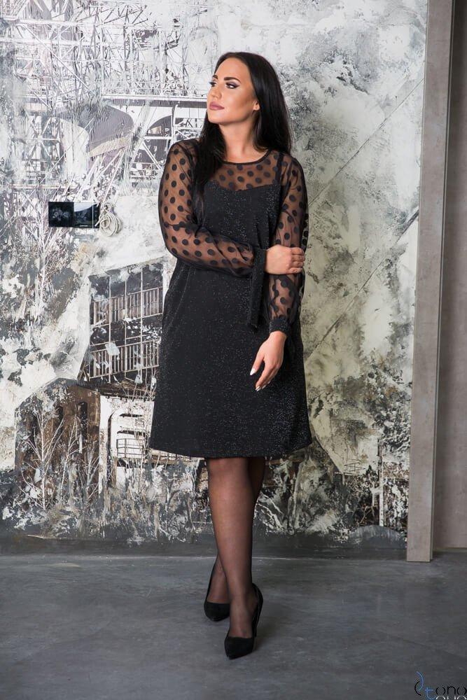 Czarna Sukienka LASHES Plus Size Wzór 1