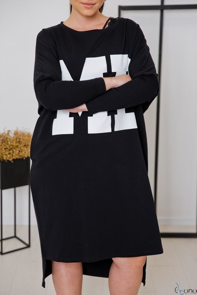 Czarna Sukienka MYSELF Plus Size
