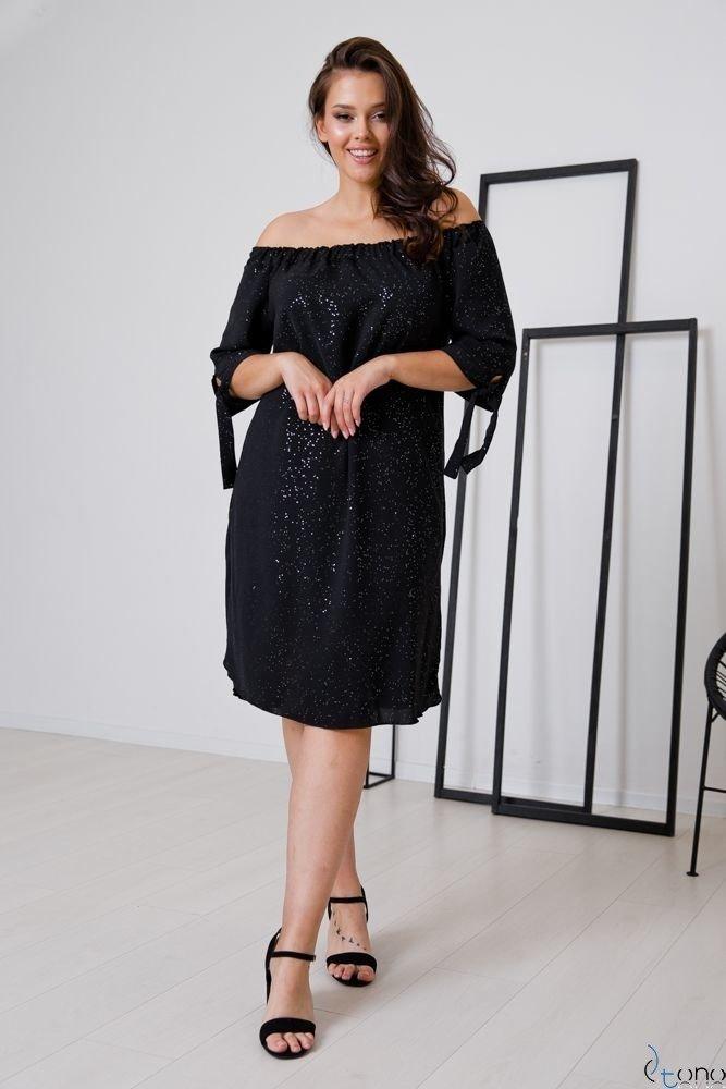 Czarna Sukienka PENARIS Plus Size