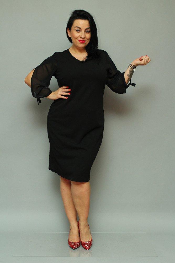 Czarna Sukienka RETRA Elegancka Ołówkowa