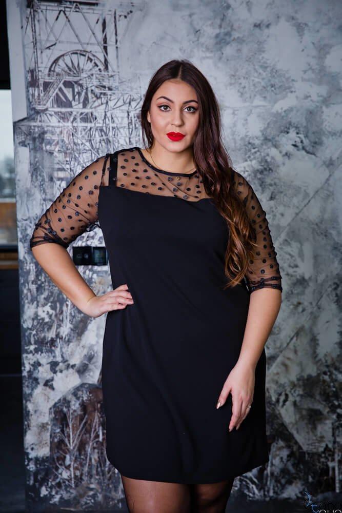 Czarna Sukienka VIDAL Plus Size