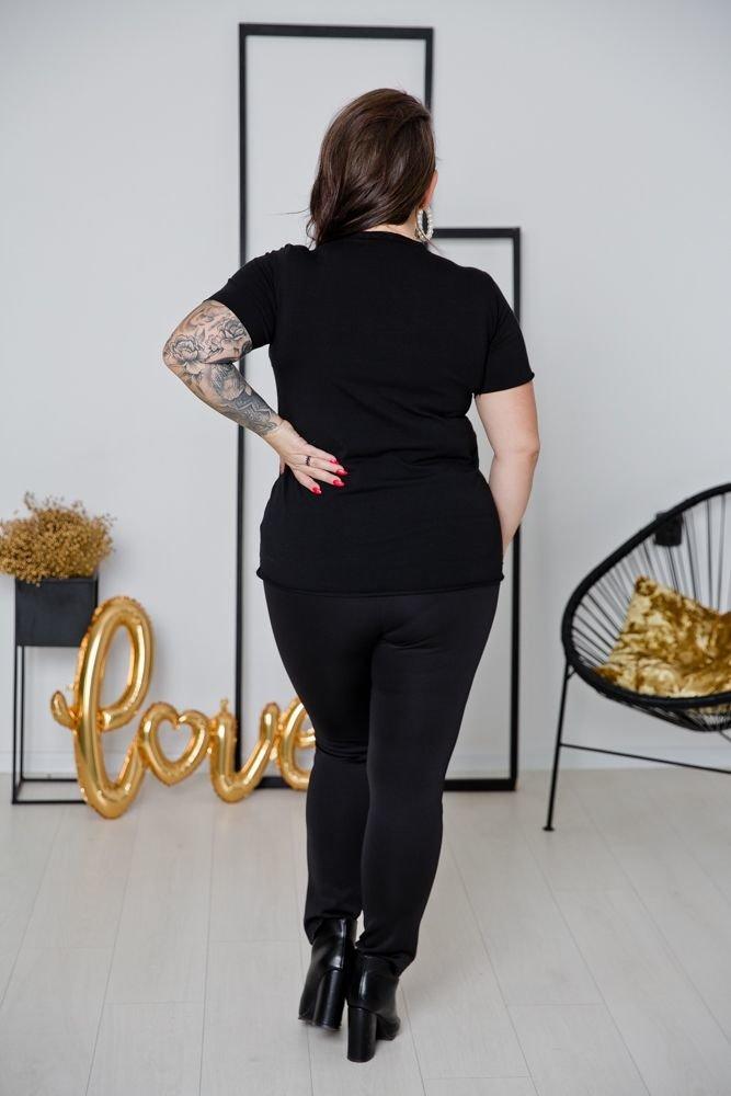 Czarne Skórzane Spodnie REZIMA Plus Size