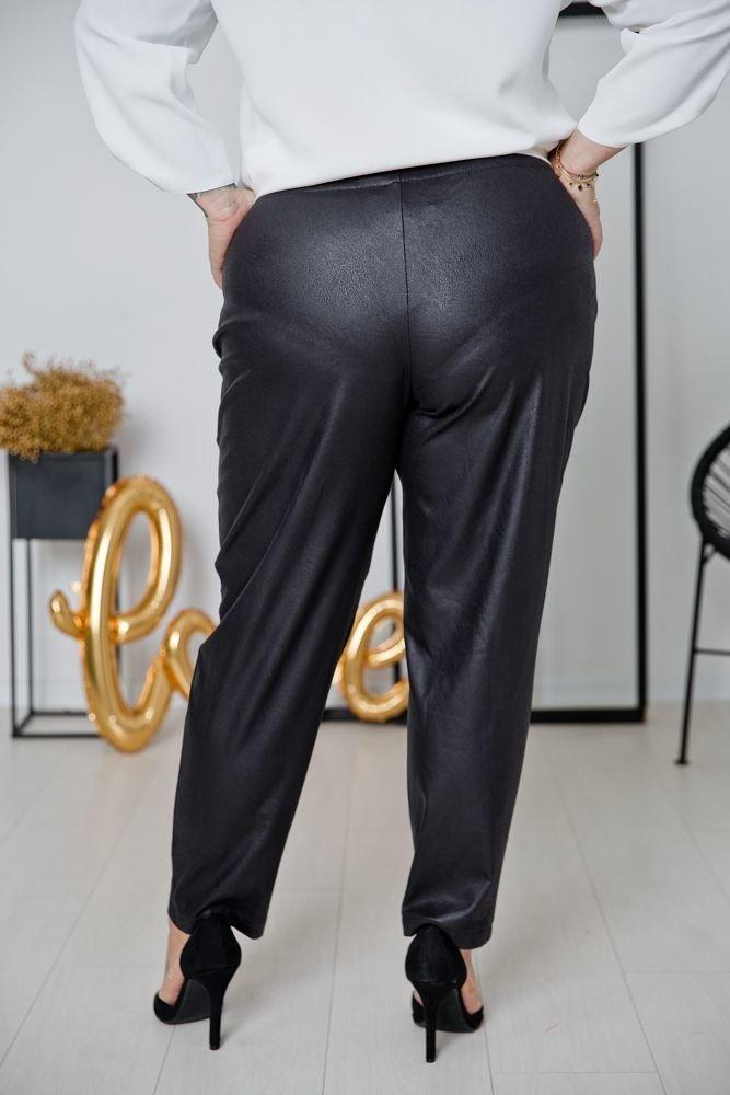 Czarne skórzane Spodnie CAMBIE Plus Size