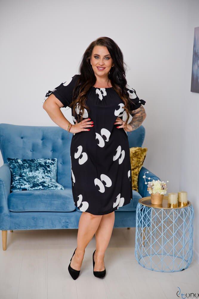 Czarno-Biała Sukienka GUARDARA Plus Size