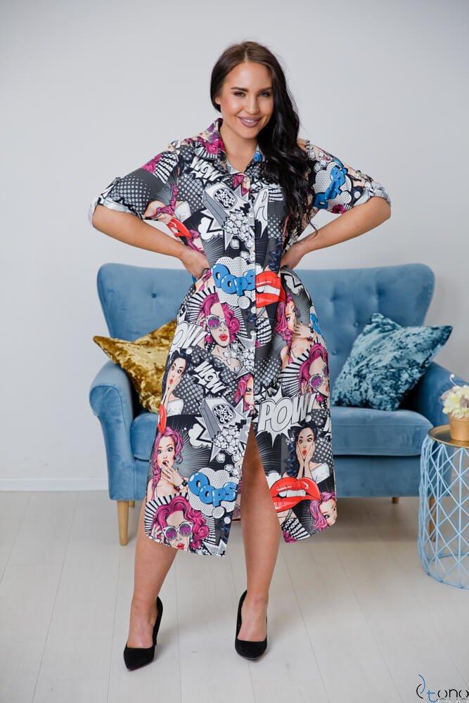 Czarno-Biała Sukienka TUNES Plus Size