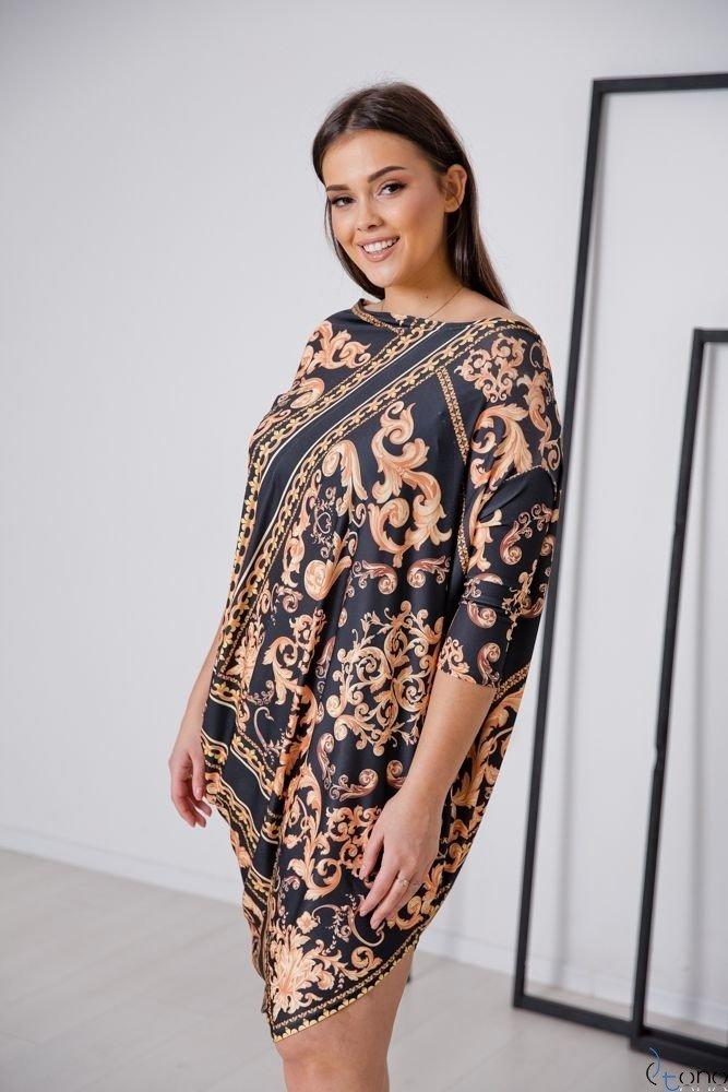 Czarno-Złota Sukienka PAGERA Plus Size