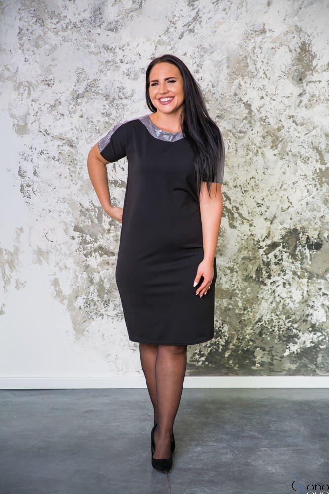 Czarno-srebrna Sukienka GLOSY Plus Size