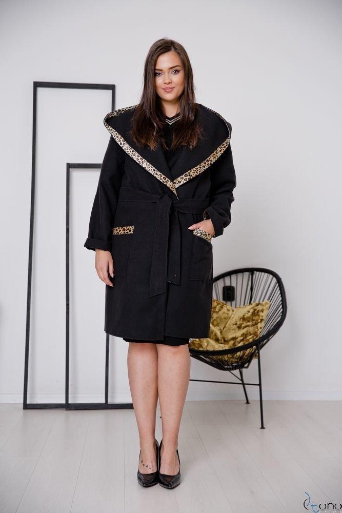 Czarny Płaszcz POLMARIA Plus Size