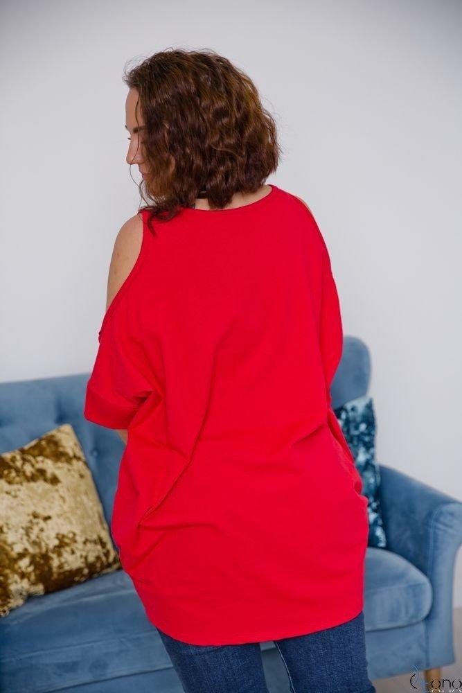 Czerwona Tunika AVIMA Plus Size (odkryte ramiona) Wzór 4
