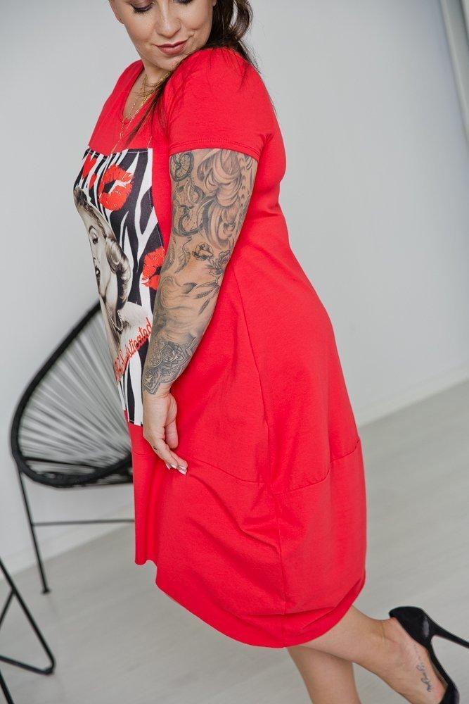 Czerwona Tunika MELANA Plus Size