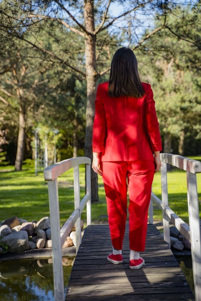 Czerwone Spodnie Eleganckie MIRANO Plus Size