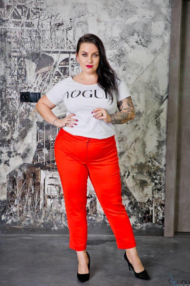 Czerwone Spodnie ROBBEN Plus Size