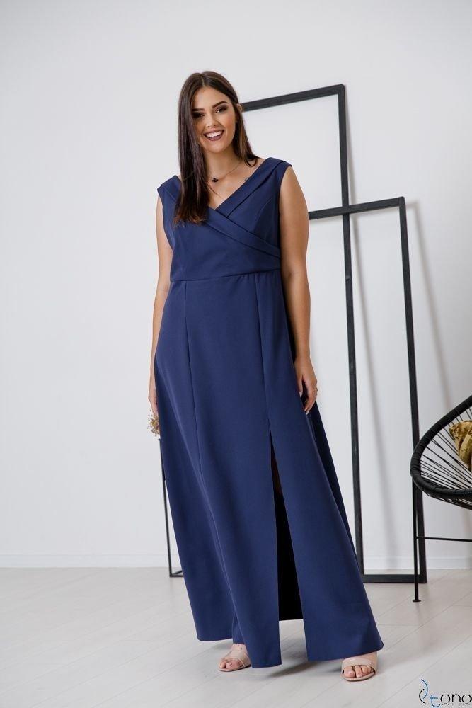 Granatowa Sukienka BEATRIZ Plus Size Maxi